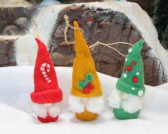 Handcrafted Needle Felted Wool Christmas Tree Ornament - Little Santa Elf