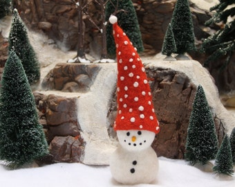 Handcrafted Needle Felted Wool Christmas Doll - Polka Dot Snowman