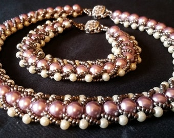 Pink & Cream Glass Pearl Hand-made Choker/Bracelet Set