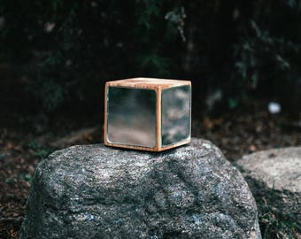 Wood cube with mirror (20x20x20cm)