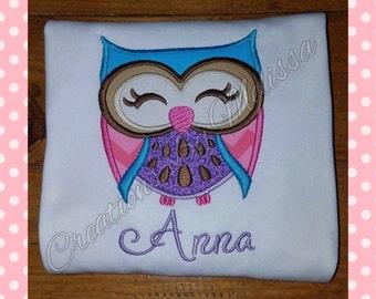 Owl Applique Shirt/ Woodland Owl/ Owl Birthday shirt/ Girls Owl Design/ Girls Owl Applique Shirt/Owl Applique Design/Owl Shirt/Owl  birthday