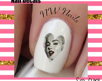 Pink Marilyn Monroe Heart  Nail Art Decals