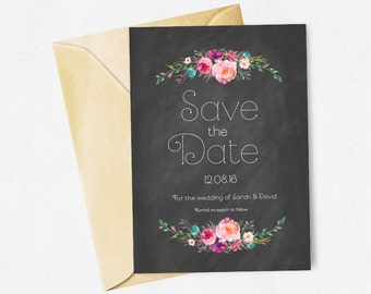 DIY Customisable and Printable Wedding Save The Date Chalkboard Floral