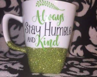 Humble & Kind green glitter mug