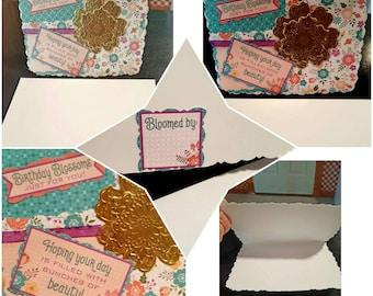 Handmade Beautiful Birthday Blossoms Card & Envelope