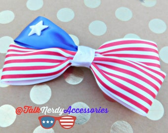 Red and White Striped Hair Bow with White Resin Star