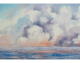 1+1=3! Print Watercolor painting, Watercolor landscape painting, seascape, watercolor painting, sea landscape, waterscape, landscape print