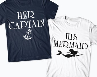Her captain his Mermaid Matching Shirts, marine boat, couple, girlfriend, boyfriend, couple clothing, couple shirt, goals, anchor cute