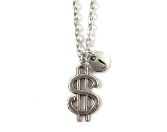 DOLLAR charm necklace, dollar jewelry, personalized charm necklace, initial necklace, personalized jewelry, charm neckalce, initial jewelry