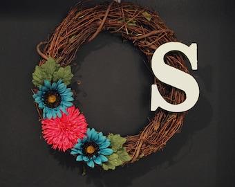 Spring Initial Wreath