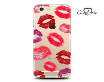 Clear iPhone cases, Clear Galaxy cases, iPhone 6 case, iPhone 7 case Clear, iPhone 6 Plus, iPhone 7 Plus case, Galaxy S7 case, Lips, Kisses