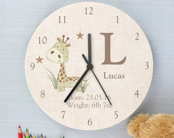Childrens Personalised Giraffe Wooden Bedroom Clock - Add Name and Message
