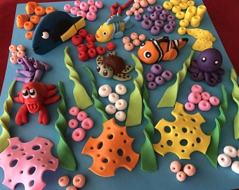 Fondant Under the Sea Kit Edible Sugar Cake Cupcake Topper Large Kit