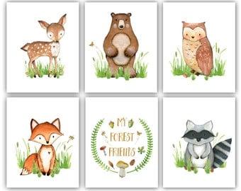 Forest Nursery Printable Art Woodland Nursery Boy, Woodland Nursery Print Set Forest Animals Nursery Printables Fox Deer Owl