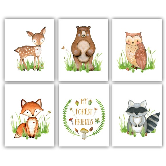 Forest Nursery Printable Art Woodland Nursery Boy Woodland