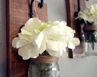 Rustic Hanging Mason Jar Wall Sconces l Mason Jar Decor l Wall Sconce l Flower Hangers l Candle Hangers