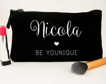 Personalised Be Younique Stylish Cosmetic Bag - Canvas Pouch - Younique Swag Make up Bag Clutch - Makeup bag - Ask me about my lashes