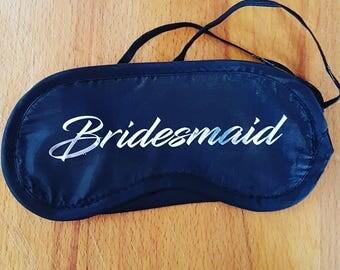 Custom sleep mask, eyemask, sleeping, Personalised, Unisex, Bridesmaid, wedding Party, gift.