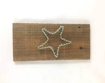 Starfish nail string art // wood nail art // wood string art // wood twine art // driftwood string art // driftwood string art // nautical