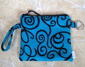 Notions pouch turquoise with black glitter swirl