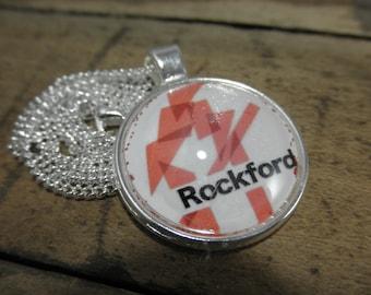 Rockford IL Necklace, Rockford IL Jewelry, Rockford IL, Rockford Illinois, Rockford, Rockford Symbol, Rockford Gift, Illinois Gift