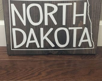 North Dakota wood sign, home decor