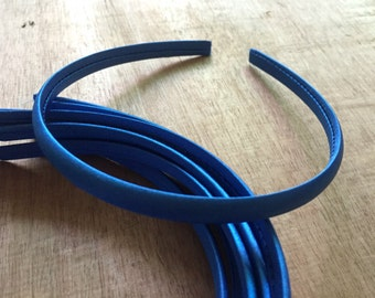 10pieces royal blue satin plastic hair headband covered 10mm wide