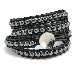 Black Mary * Hematite Leather Strand Bracelet