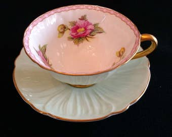 Shelley English Fine Bone China Oleander Pattern Mint Green Cup and Saucer Gold Trim