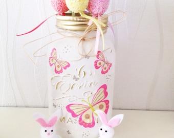 READY TO SHIP - Hand decorated Summer Butterflies 1L Mason Jar, spring, shabby chic, home decor, storage jar