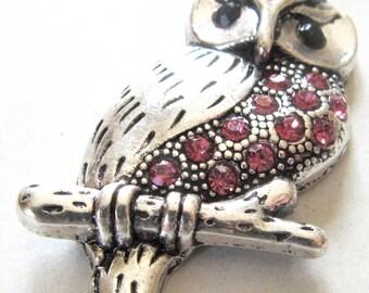 Pendentif Hibou en métal avec strass rose