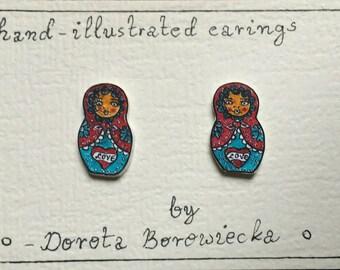 Easter Matryoskha earing s. Sterling silver 925.stud earings.hand made.plastic .hand drawn.fair trade
