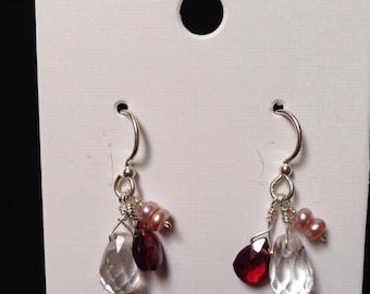 Crystal, garnet and pearl earrings