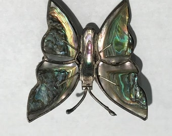 Mexican Southwestern Sterling Silver & Abalone Pin