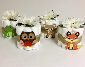 Set of 4 Woodland Mini Diaper Cakes for a Rustic Themed Baby Shower. Baby Shower Gift or Centerpiece. Decorations. Welcome Gift