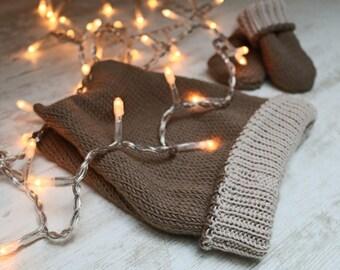 Hat and mittens reversible baby 100% wool Merino Baby