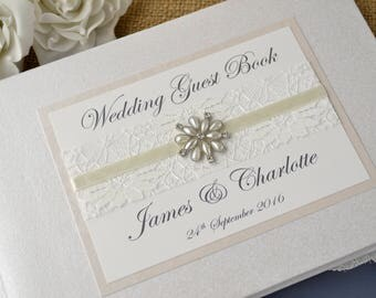 Personalised Wedding Guest Book. Lace and Vintage Jewel Design. Handmade Wedding Guest Book. Wedding Gift. Wedding Keepsake.