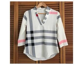 VINTAGE 1980's White tennis blouse top striped