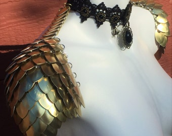 Gold Scale Mail Shoulders - Armor Shoulders - Scale Mail Pauldrons - Armor - Chainmail - Scalemail - Dragon Scale - Gothic Black Lace Choker