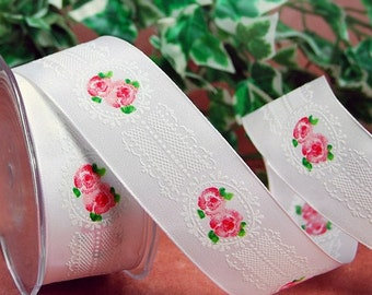 1 m Ribbon stripe 4 cm WHITE AND FLOWER fancy