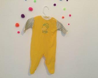 SALE Vintage baby pjs, 60s pjs, 60s baby pjs, vintage 6-9 month pjs, yellow baby pjs, vintage pj set, 60s baby pj set