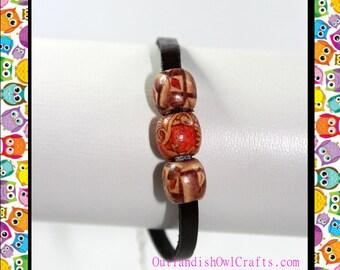 Wooden Beaded Leather Bracelet