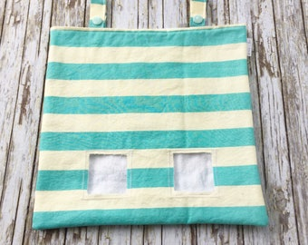 Blue Striped Hay Bag for Guinea Pigs and Other Small Animals