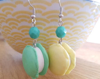 Gourmet earrings green and yellow Macarons - french macaroons earrings