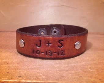 Custom wedding or anniversary leather cuff bracelet gift