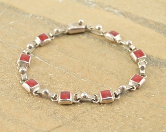 Rounded Square Red Inlay Hinged Link Bracelet Sterling Silver 16.1g
