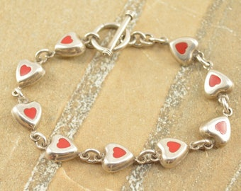 Red Inlay Heart Link Toggle Closure Bracelet Sterling Silver 15.2g