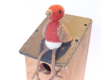 Hand knitted Robin collectable, Woodland creature collection, Personalised name tag, cute, quirky, fun
