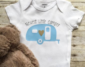Baby Boy Newest Little Camper Onesie, Baby Boy Newest Little Camper Bodysuit, Baby Boy Blue Camper Onesie, Newborn Little Camper Onesie