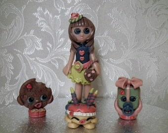 Shopkins inspired.  Ooak. Home-made clay keepsake, cake topper, sculpture, gift.
